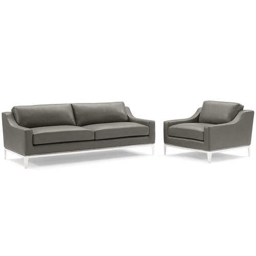 Harness Stainless Steel Base Leather Sofa & Armchair Set