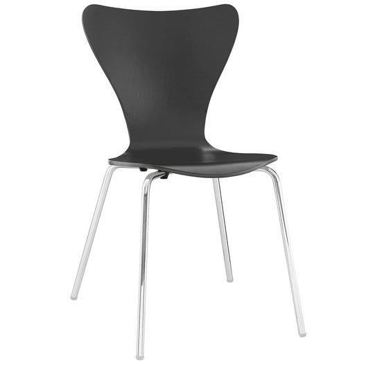 Modern Ernie Dining Side Chair - Armless Lounge Chair - Walnut