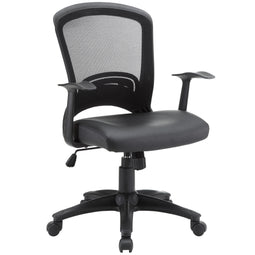 Computer Ergonomic Pulse  Vinyl Lumbar Support Office Chair in Black- Lumbar Support