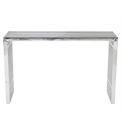 Gridiron Tubular Stainless Steel Console Table Radial Shape, Table In 29 Inch Height