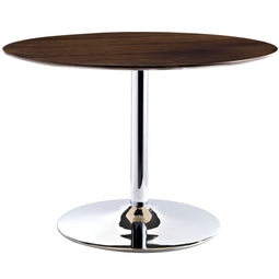 Rostrum Round Wood Top Dining Table - Dining Room Table Steel Base Pvc Foot Pad