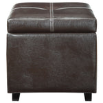 17 Inch L x 17 Inch W x 17 Inch H -Treasure Upholstered Vinyl Ottoman in Black