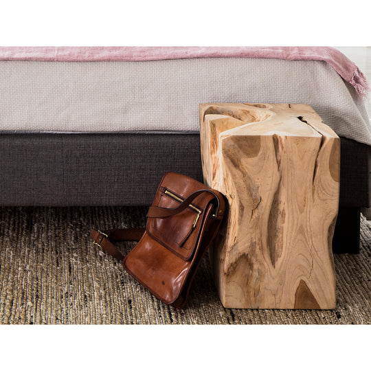 Natural Teak Wood End Table, Solid, Rustic