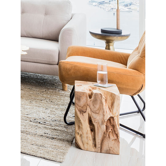 Natural Teak Wood End Table, Solid, Rustic | Moe's Collection