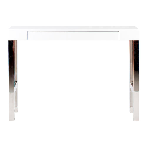 White contePorary Modern Tura Console Table In White with Footpads - Hallway Sofa Console Table