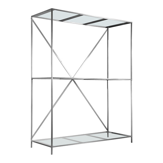 Industrial Chair And Stool Shelf With Glass Shelves - Clear