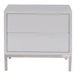 Contemporary Modern  Side Table In White - Naples White Nightstand With Drawers In Polished Stainless Steel