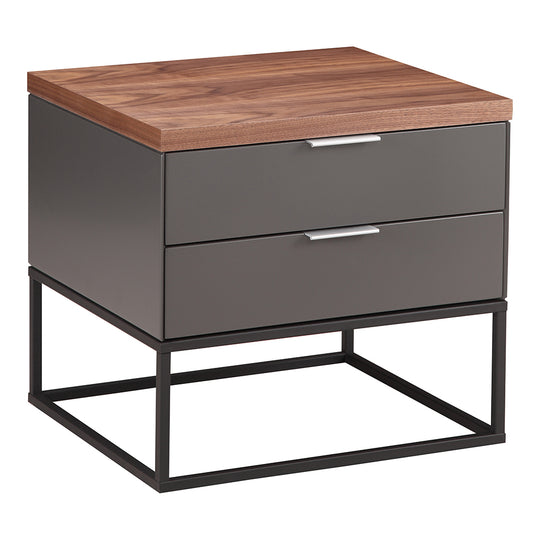Leroy Side Table With Drawers, Dark Grey, Contemporary Modern