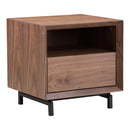 Load image into Gallery viewer, Contemporary Modern Side Table In Walnut Wood Veneer -Two Tier Persela Nightstand with 1 Open Shelf And 1 Drawer