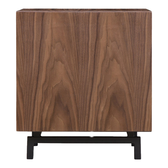 Contemporary Modern Side Table In Walnut Wood Veneer -Two Tier Persela Nightstand with 1 Open Shelf And 1 Drawer