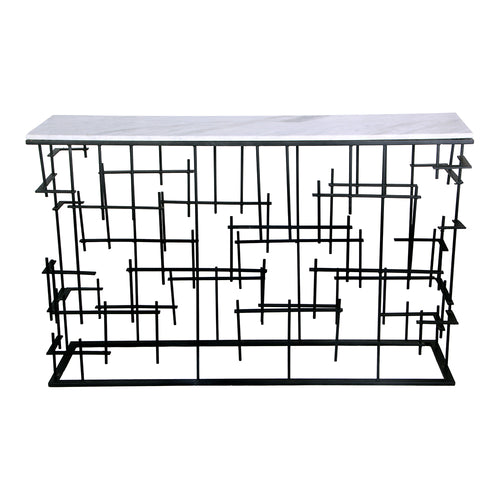 Matrix Console  Sofa Table With Abstract Designs - Entryway Console Table In Iron Base