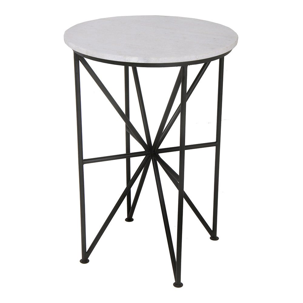 Transitional Marble Top Quadrant Modern End Tables - Living Room Accent Tables With Iron Base