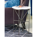 Load image into Gallery viewer, Transitional Marble Top Quadrant Modern End Tables - Living Room Accent Tables With Iron Base