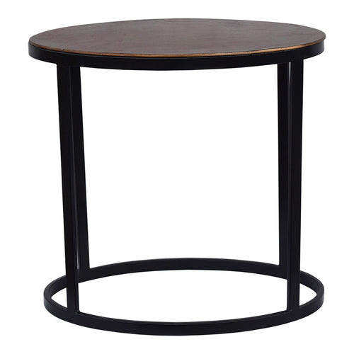 Industrial Ovoid Accent Table With Aluminium Top - Round end Table With Iron Base In Copper