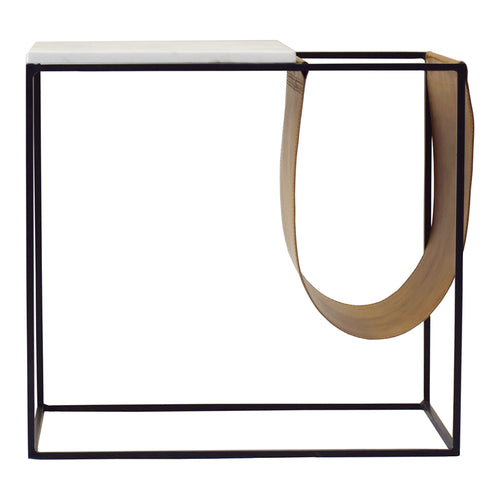 Contemporary Modern Marble Top Cave Magazine Rack - Coffee Table In Iron Legs - Modern Living Room Tables