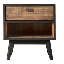 Contemporary Modern Nightstand - Rustic Farmhouse Style End Side Able In Black - Side Coffe Table For Living Room