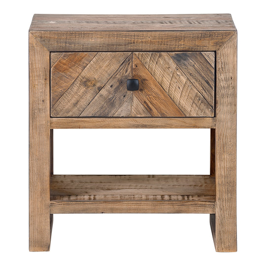 Small Teigen Nightstand With One drawers And Shelfs - Rustic Side Table with One Year Manufacture Warranty