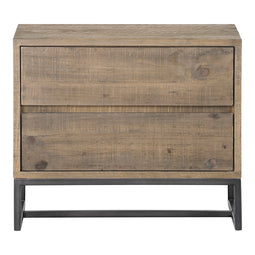Transitional Elena Two Spacious Drawers Nightstand With Metal Base - Kitchen - Dining room