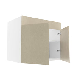 Frameless Fabric Grey  Double Door Sink Base Cabinet - 36