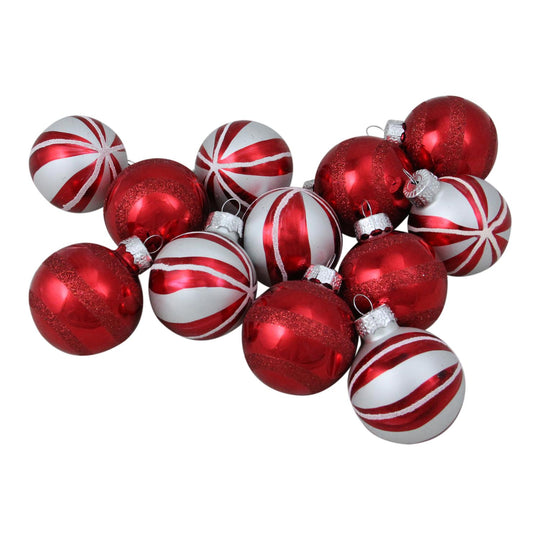 12ct Red and White Swirl Decorated Glass Ball Christmas Ornament Set 1.75""