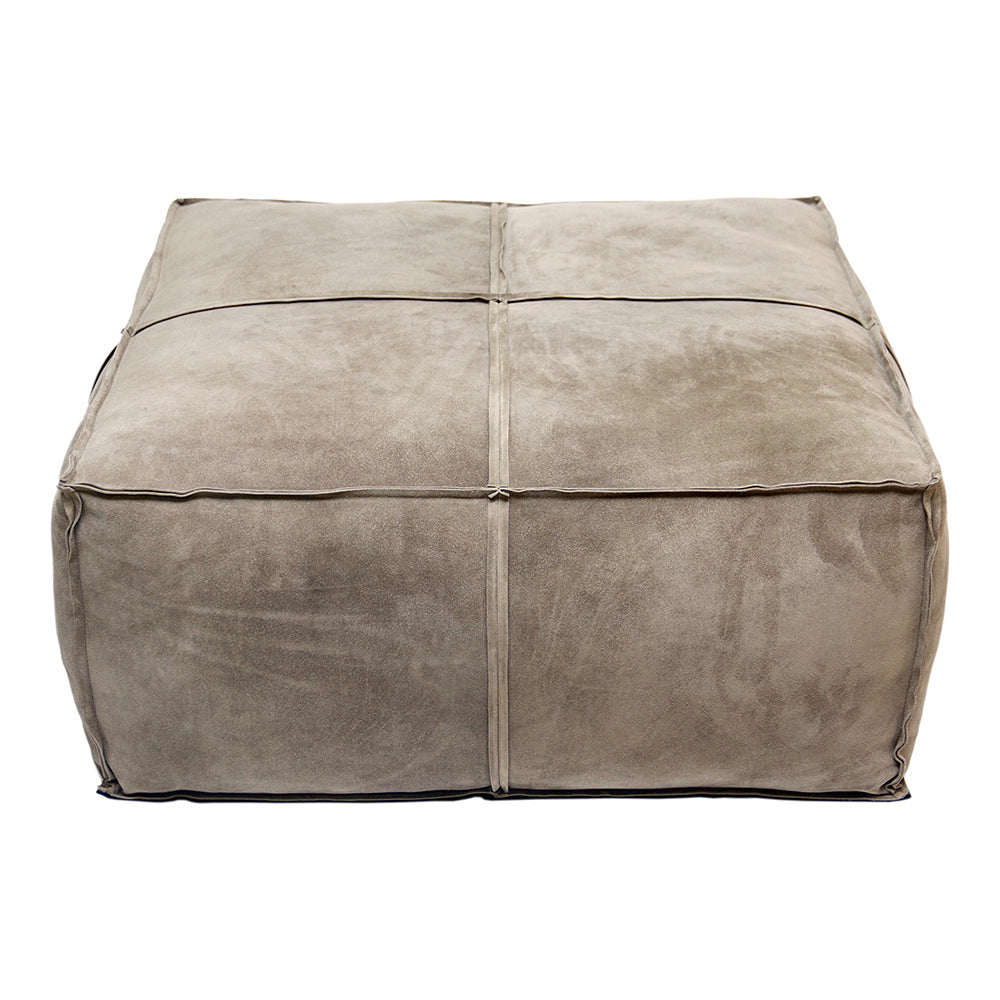 Home Decorative Seat For Living Room, Bedroom -Presley 14 Inch Light Grey Ottoman Filled With Cotton Filler