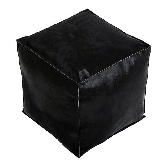 Transitional Square Luca Leather Puff Black Ottoman In Rustic - Ottoman With Recycled Cotton Fillers