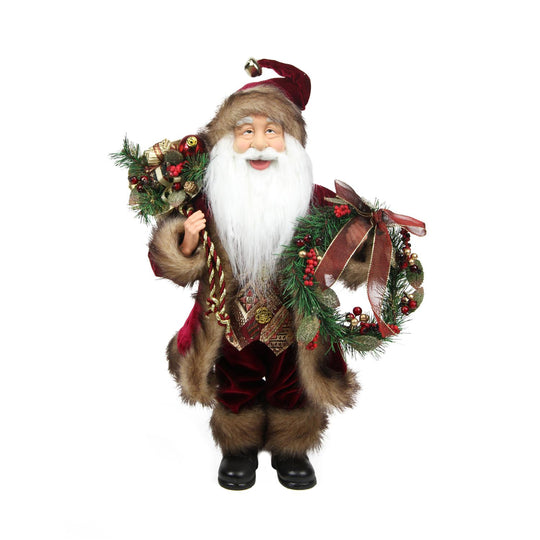 "18"" Country Cabin Santa Claus in Burgundy Holding a Wreath and Gift Bag Christmas Figure"