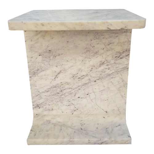 Modern Contemporary White Abacus Marble Accent Table For Home Office - Modern End Accent Coffee Table For Living Room Bedroom Balcony Family And Office