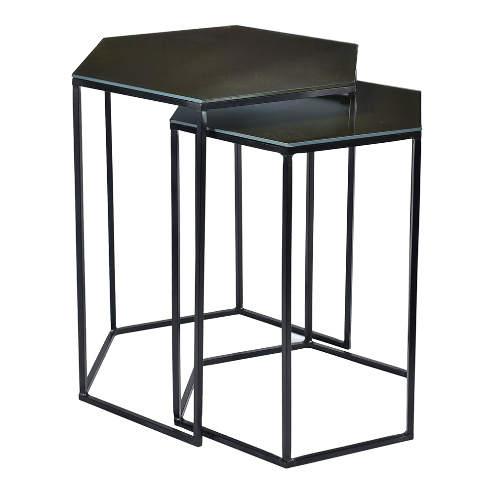 Contemporary Modern Polygon Accent Table in Glass Top - Set of 2 Coffee Side Table For Living Room Balcony