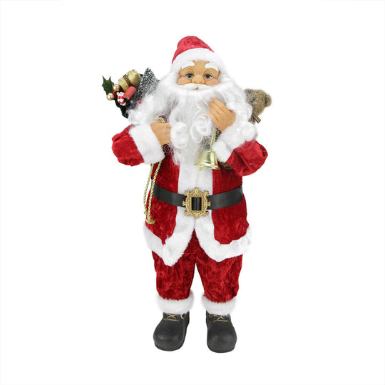 "24"" Traditional Red and White Standing Santa Claus Christmas Figure with Gift Sack"