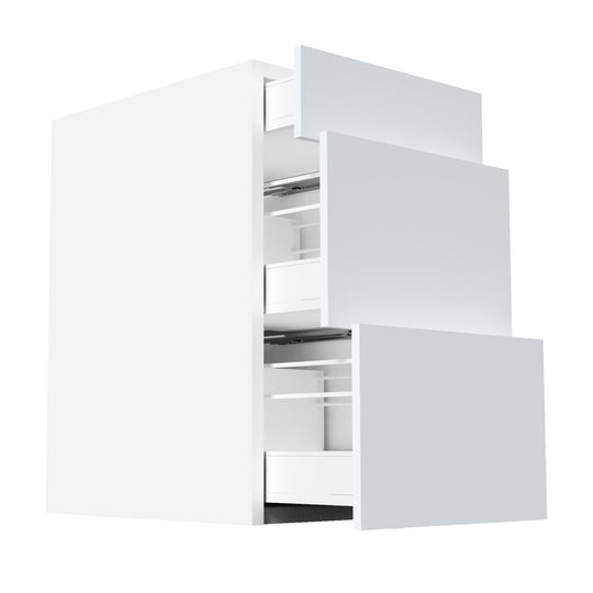 "18""W X 30""H Glossy White Drawers Base Cabinet  With 3 Drawers"