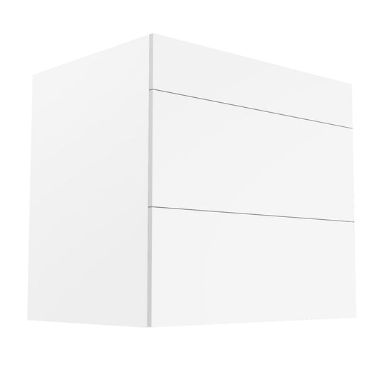 "33""W X 33""H Glossy White Drawers Base Cabinet  With 3 Drawers"