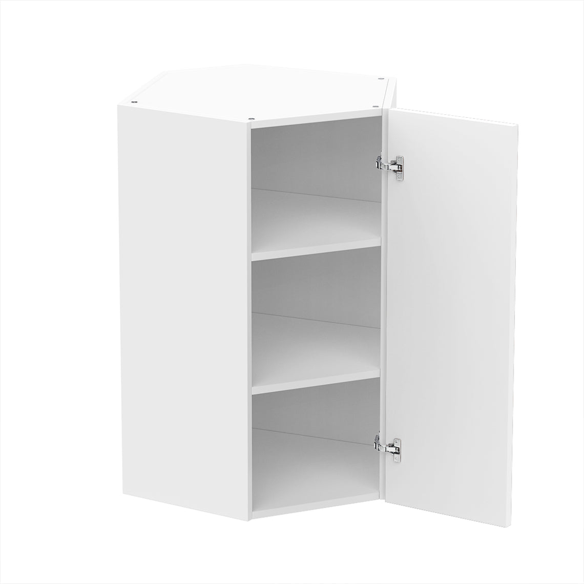 Glossy White Diagonal Corner Wall Cabinet 24