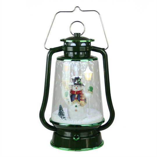 "13.5"" Green Lighted Musical Snowman Snowing Christmas Table Top Lantern"