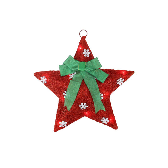 "17"" Lighted Red and Green Sisal Hanging Christmas Star Window Decoration with Bow"
