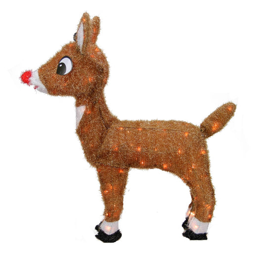 "26"" Pre-Lit Rudolph the Red-Nosed Reindeer Christmas Outdoor Decoration - Clear Lights"