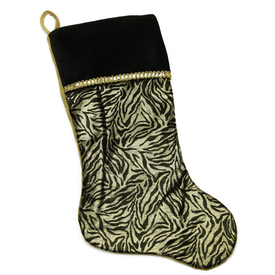 "20"" Black and Gold Metallic Zebra Print Christmas Stocking with Shadow Velveteen Cuff"