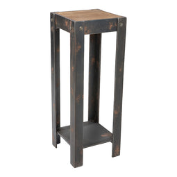 Industrial Bolt Plant Tall Side Table In Natural - Outdoor End Tables With Storage Shelf