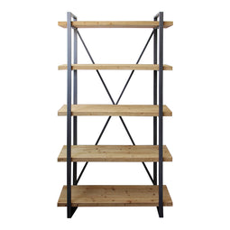 Rustic Wood Lex 5 level Natural Shelf  - Media Storage Cabinet In Iron Frame