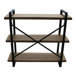 Rustic Wood Lex 3 Level Natural Shelf  - Media Storage Cabinet In Iron Frame
