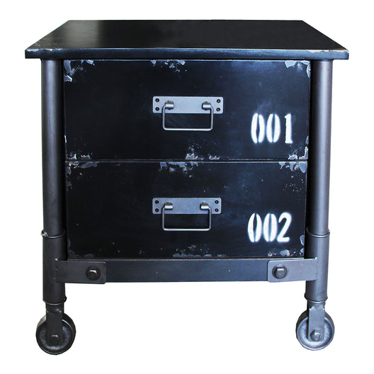Soho 2 Drawer Cabinet Black, Black, Industrial