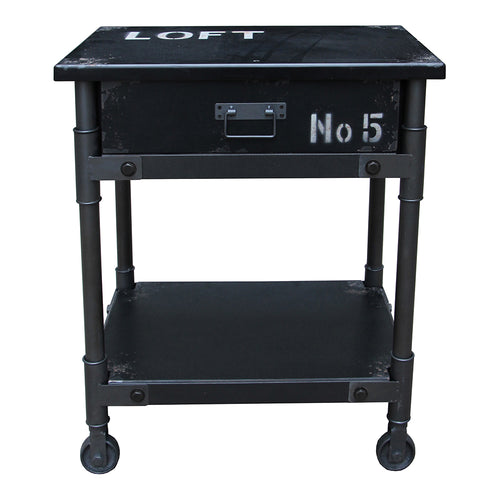 Soho 1 Drawer Cabinet Black Industrial End Tables | Moe's Furniture
