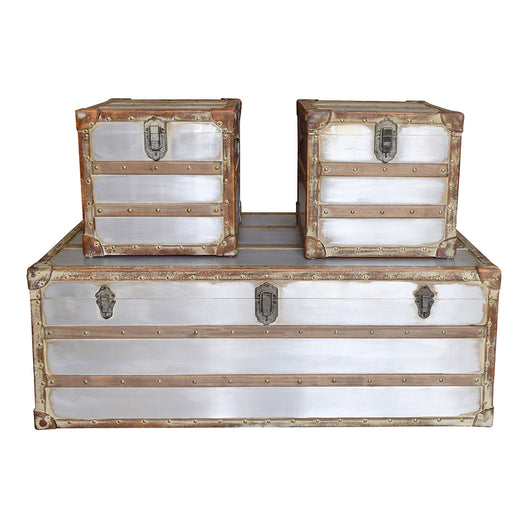 Steamer Trunk Coffee & Side Tables Set, Silver | Moe's Furniture