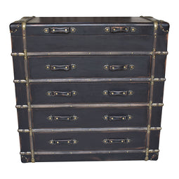 Davy Jones Chest Nightstand Storage Cabinet Without Legs - Industrial Black Nightstand Set
