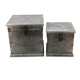 Stash Storage Boxes Set Of Two, Black, Industrial