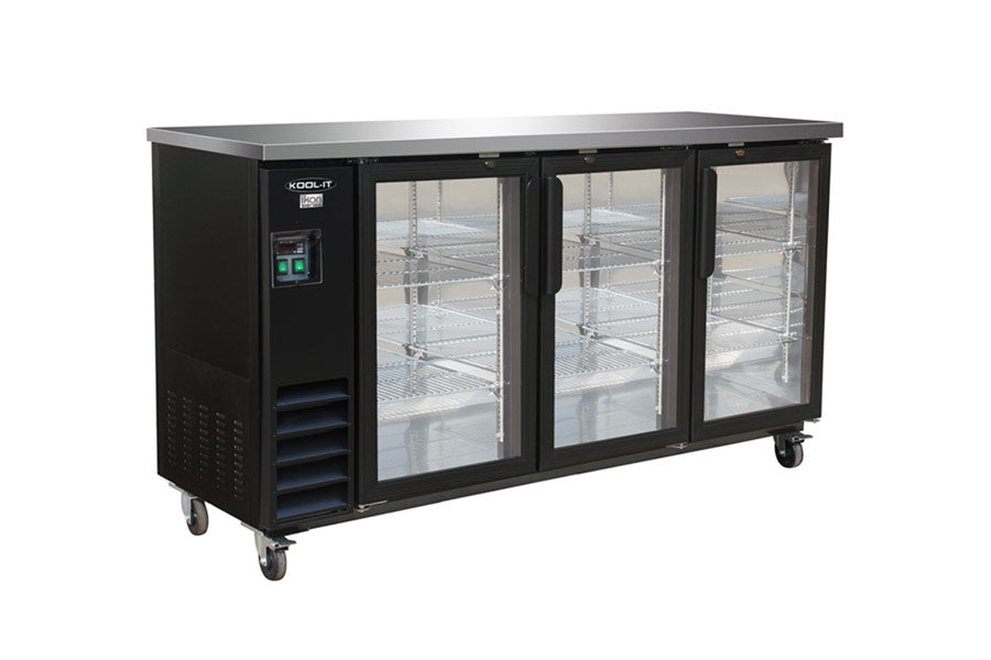 IKON Series Refrigerated Back Bar Storage Cabinet, three-section, 73-1/10