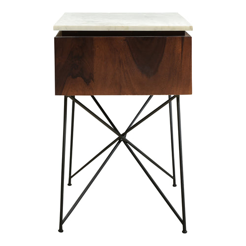 Bedside Dominic Nightstand - Narrow End Table With Drawer - Modern Nightstand With Solid-Wood Cabinet