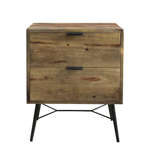 Camari End Table - Industrial Nightstand With Flat Top In Wood - Bedside Nightstand With Drawers