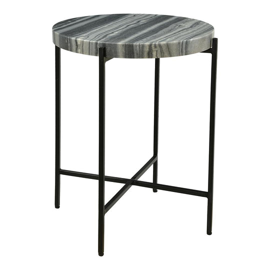 Contemporary Cirque Accent Table With Marble Top, End Tables In Iron For Living Room, Bedroom