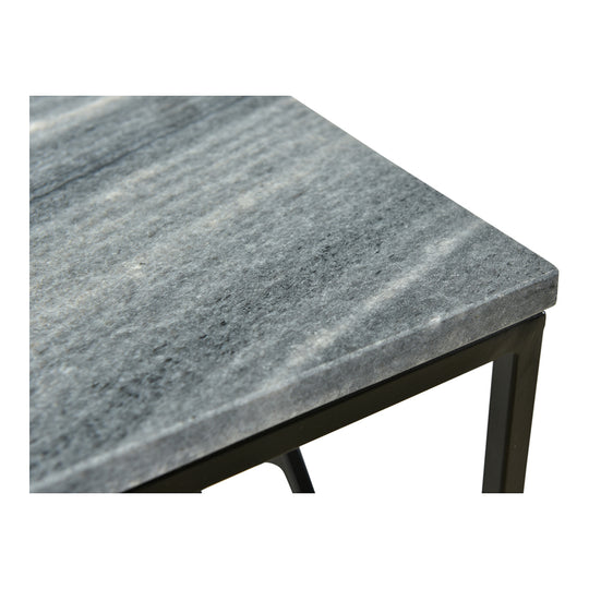 Lagom Marble Top Side End Table For Living Room With Geometric Iron Base Legs